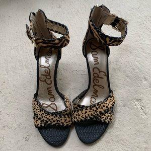 Sam Edelman Calf Hair Cheetah Wedge Sandals Size 7